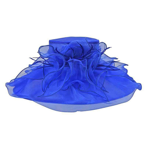 Large Organza Hat with Feather and Flower