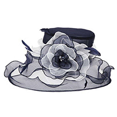 Asymmetrical Brim Two Tone Organza Hat