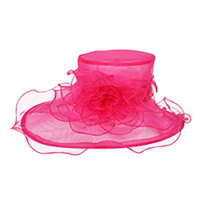 Asymmetrical Brim Flower Organza Hat - SetarTrading Hats