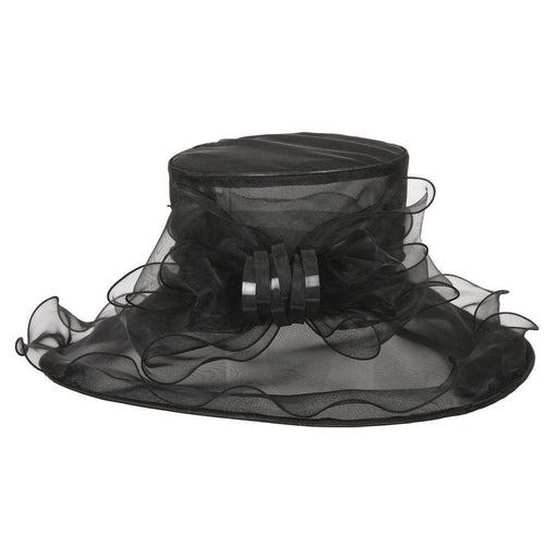 Organza Hat with Ruffle Brim and Bow - SetarTrading Hats
