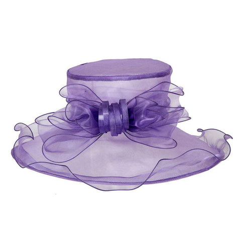 Organza Hat with Ruffle Brim and Bow