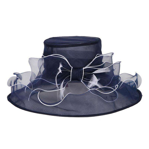 Bow Organza Hat with Ruffle Brim