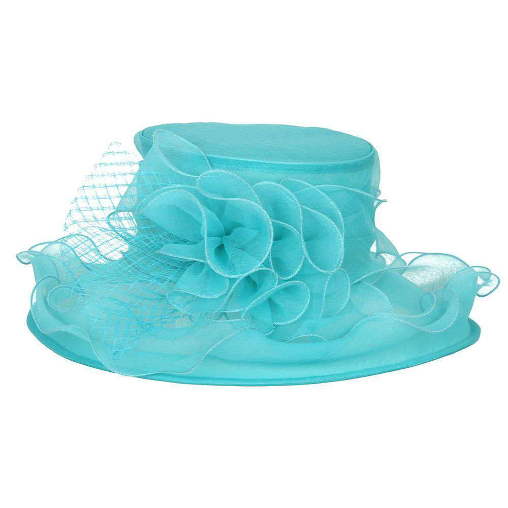 Lily Flower Organza Hat with Ruffle Brim - SetarTrading Hats