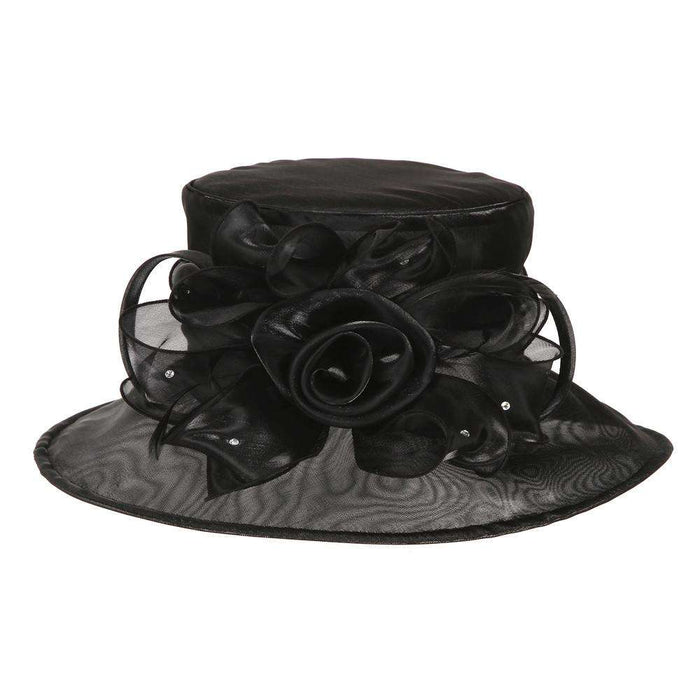 Rose and Rhinestone Organza Hat - SetarTrading Hats
