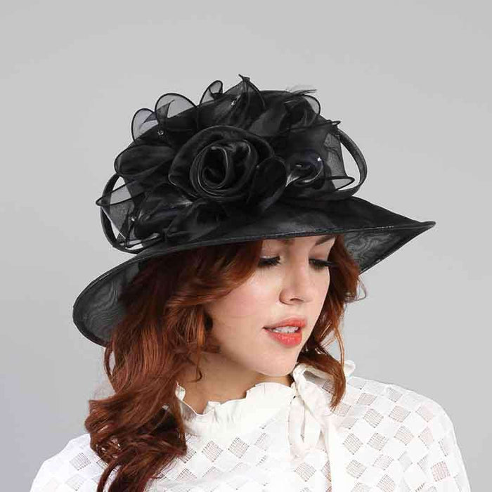 Rose and Rhinestone Organza Hat