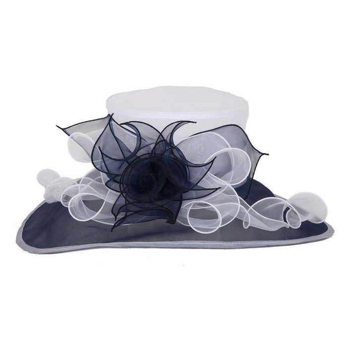 Elongated Brim Two Tone Organza Hat - SetarTrading Hats