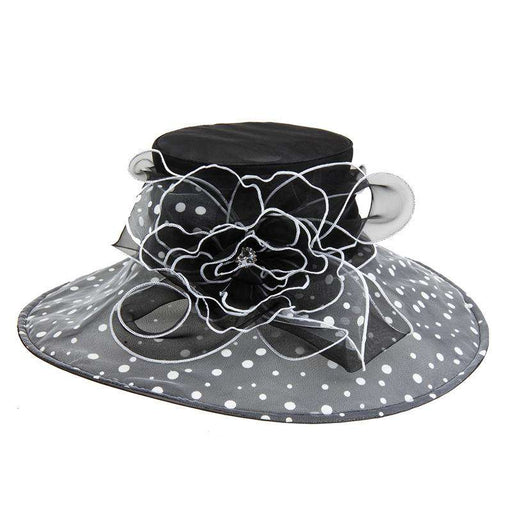 Polka Dot Brim Organza Hat - Kentucky Derby Hat Collection