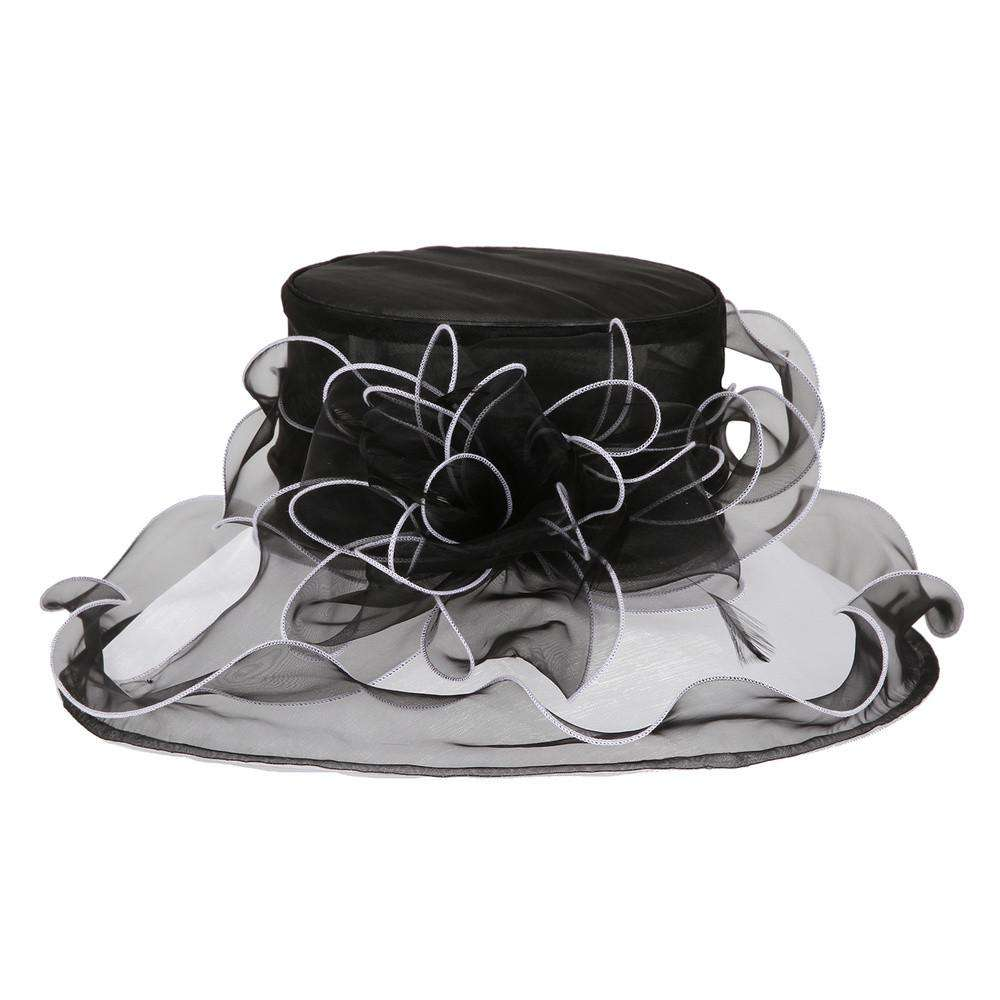 Two Tone Ruffle Brim Organza Hat - SetarTrading Hats