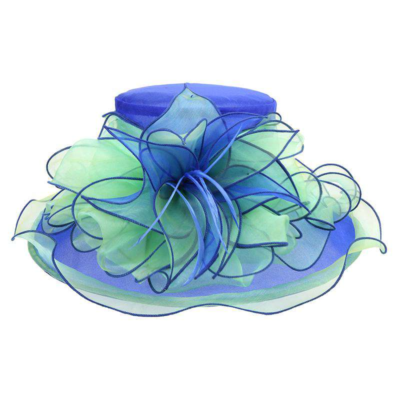 Two Tone Flower Center Ruffle Derby Hat