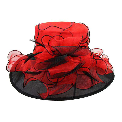 Two Tone Organza Hat with Curly Bow Accent - Sophia Collection