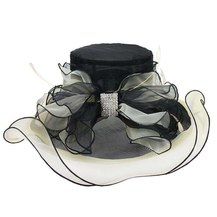 Two Tone Organza Hat with Rhinestone Accent - Sophia Collection