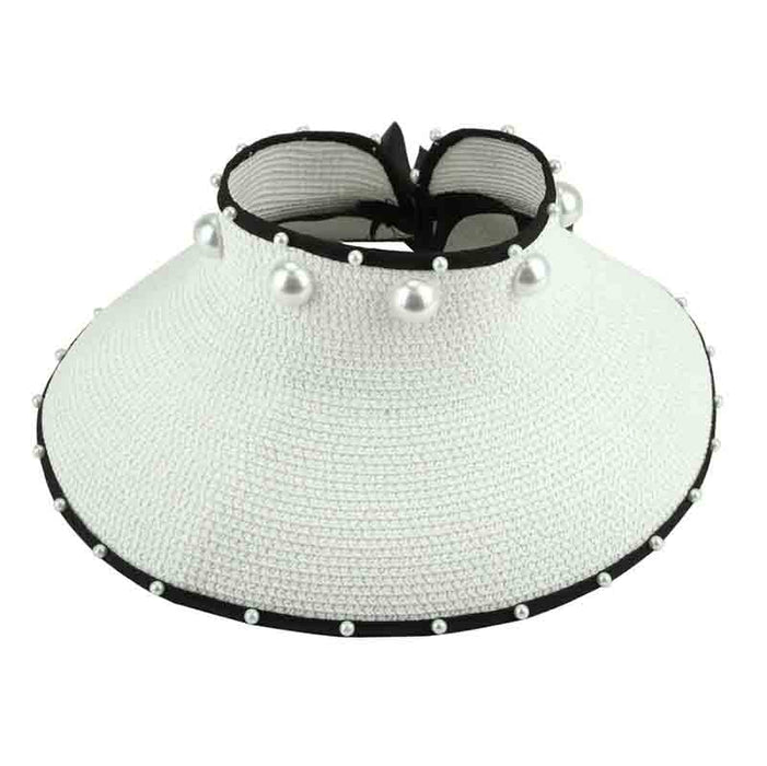 Wrap Around Sun Visor Hat with Pearl Accent - Sophia