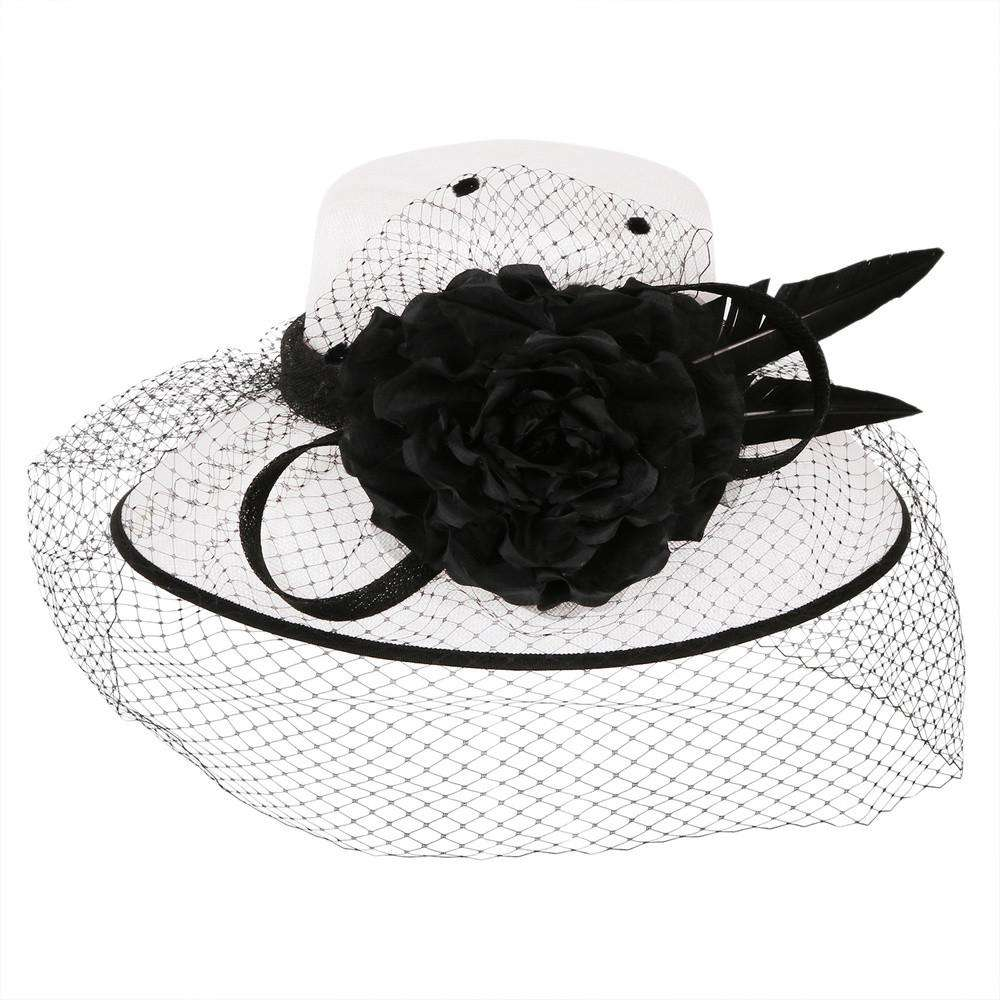Black and White Tiffany Sinamay Hat - SetarTrading Hats