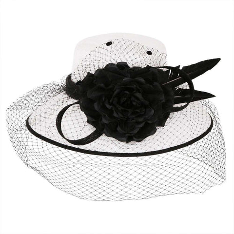 Black and White Tiffany Sinamay Hat
