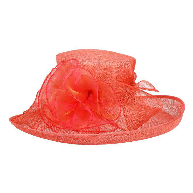 c5f081ce31f Large Up Turned Brim Sinamay Hat with Iridescent Sheer Flower Accent
