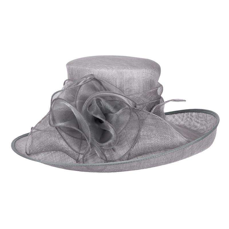 Large Up Turned Brim Sinamay Hat with Iridescent Sheer Flower Accent