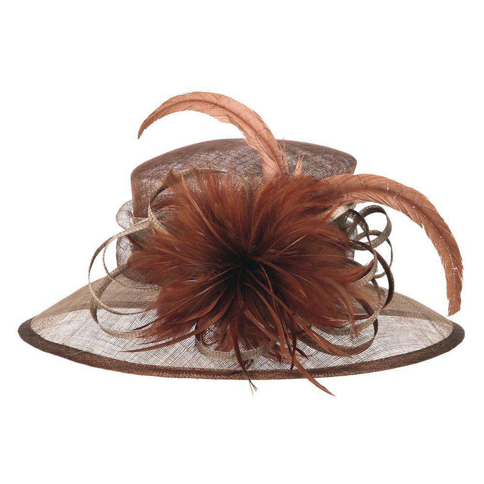 Sinamay Hat with Feather Flower Accent - SetarTrading Hats