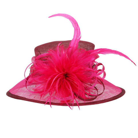 Sinamay Hat with Feather Flower Accent