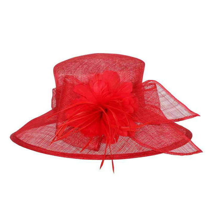 Sinamay Big Brim Derby Hat with Feather Flower