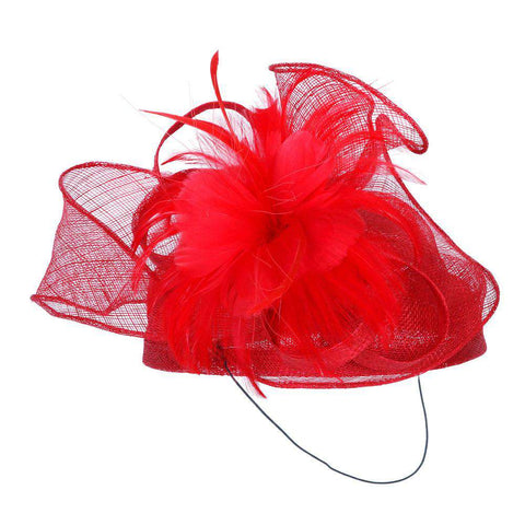 Sinamay Pillbox Hat with Feather Flower