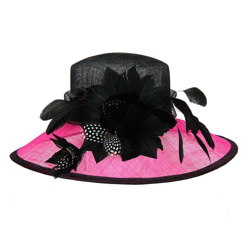 Dotted Feather Flower Two Tone Sinamay Dress Hat - SetarTrading Hats