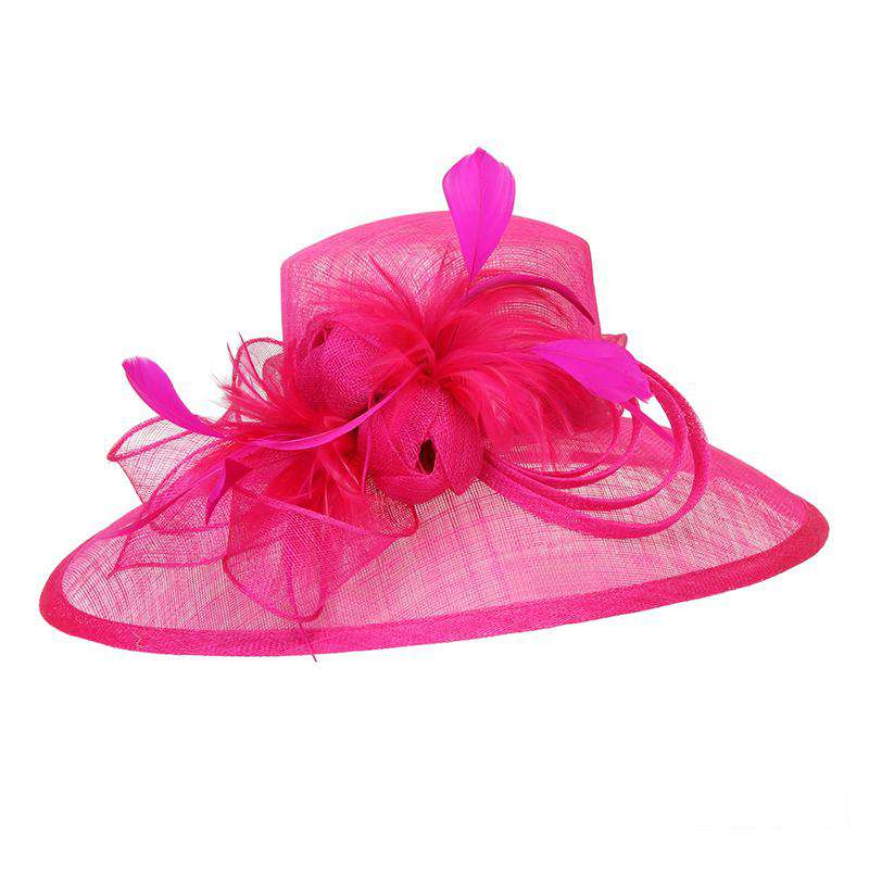 Oval Sinamay Dress Hat with Feather Flowers - Sophia Collection