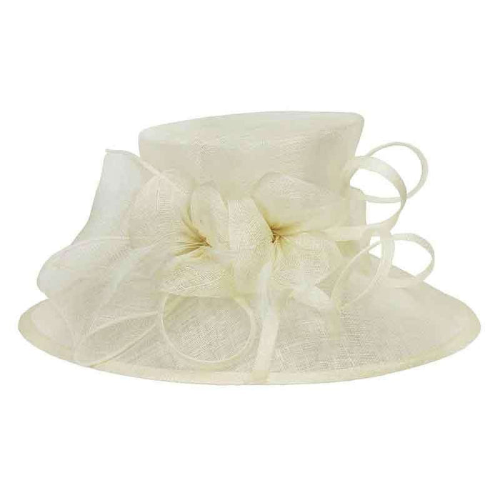 Sinamay Dress Hat with Loopy Flower Center
