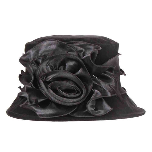 Velvet Hat with Satin Flower - Something Special