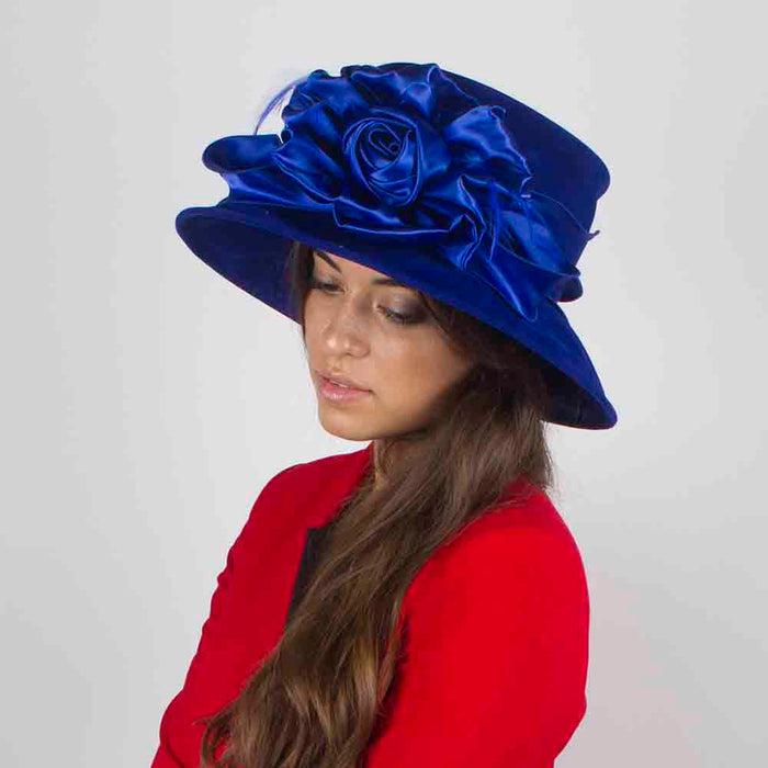 Velvet Hat with Satin Rose Accent - Something Special