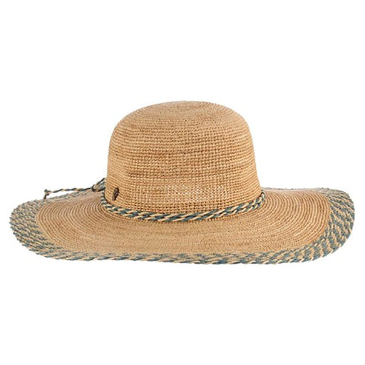 Hand Crocheted Raffia Straw Hat with Blue Trim - Tommy Bahama