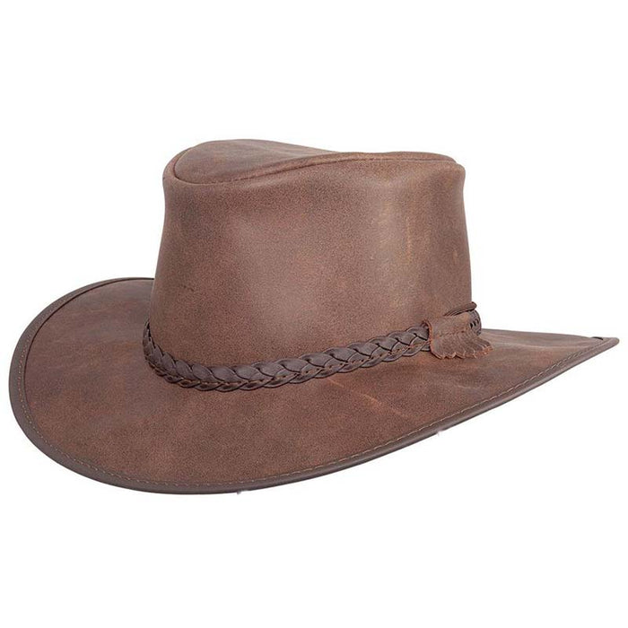 Head'n Home Crusher Outback Leather Hat up to 3XL- Bomber Brown