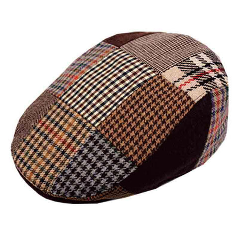 Patch Work Wool Flat Ivy Cap with Quilted Lining