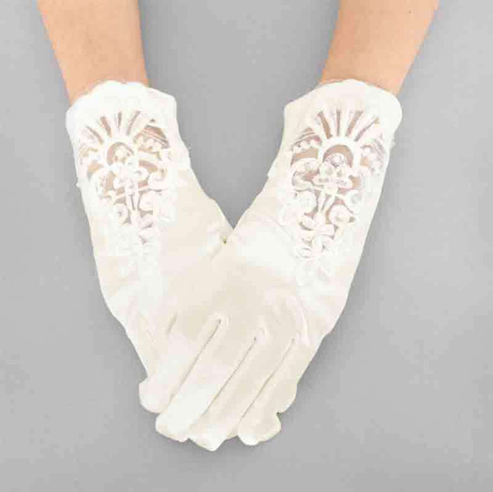 Classic Satin Gloves with Embroidered Lace and Beads