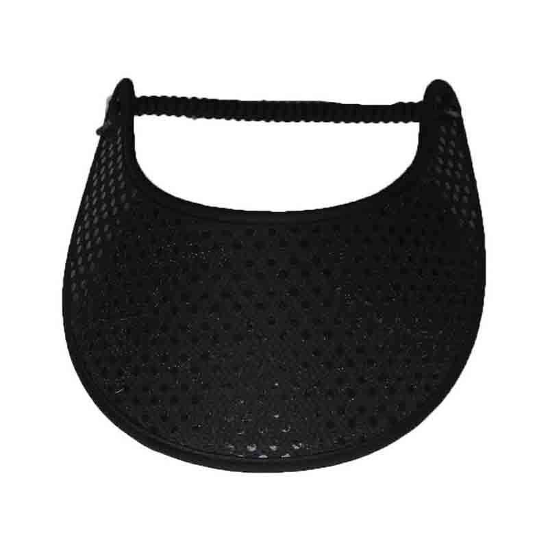 Black Glitz Fabric-Foam Sun Visor - SetarTrading Hats