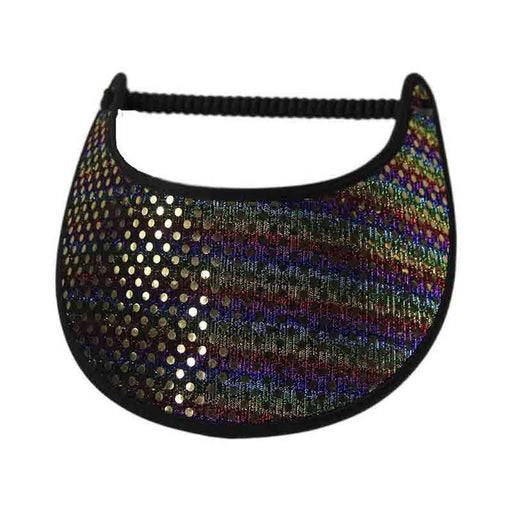 Multicolor Stripes Glitz Fabric-Foam Sun Visor