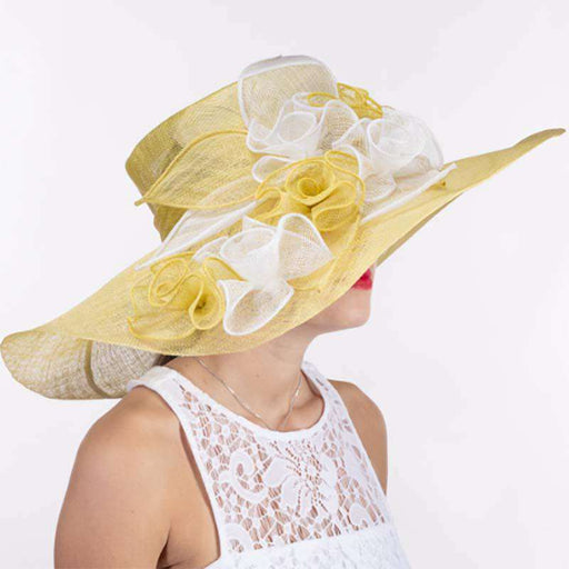 Flower String Wide Brim Yellow and White Sinamay Dress Hat - KaKyCO