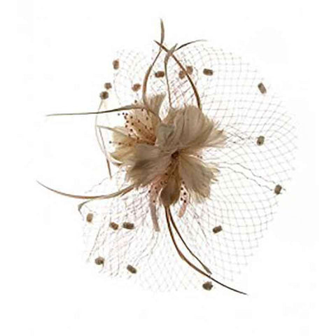 Feather Flower Fascinator with Dotted Netting