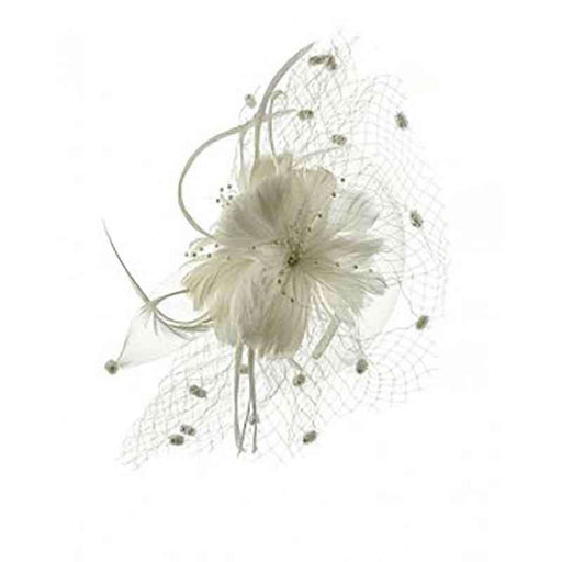 Feather Flower Fascinator with Dotted Netting - SetarTrading Hats