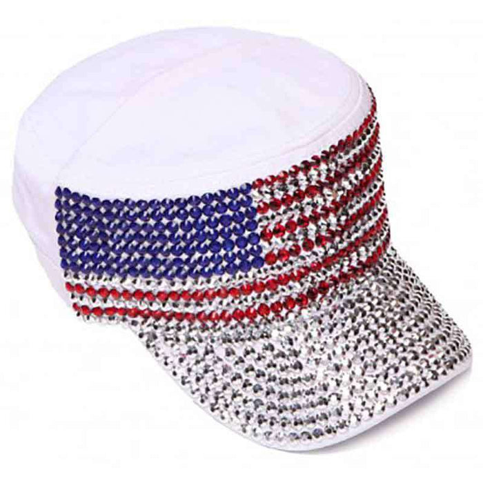 Studded USA Flag Cadet Cap - Red, White and Blue Collection