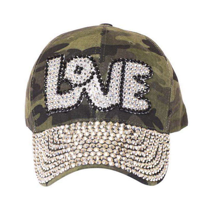 04154c38 LOVE Bedazzled Studded Baseball Cap — SetarTrading Hats