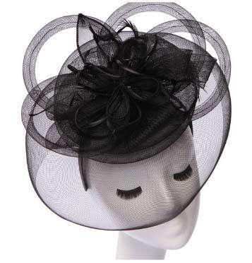 Large Loopy Mesh and Feather Fascinator - SetarTrading Hats