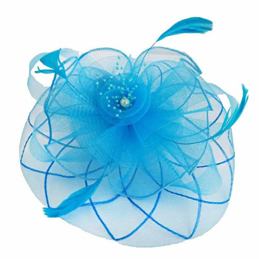 Checkered Mesh and Flower Fascinator with Beads - SetarTrading Hats