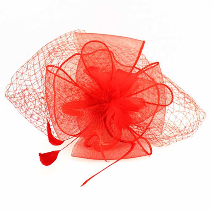 Feather Flower Fascinator with Netting Veil
