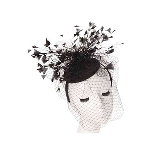Feather Burst Fascinator with Netting Veil - SetarTrading Hats