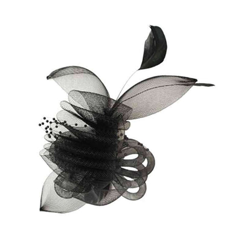 Pleated Crin Hair Clip Fascinator with Beads