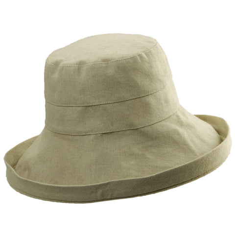 Up Turned Brim Linen Sun Hat in Neutral Colors - Tropical Trends