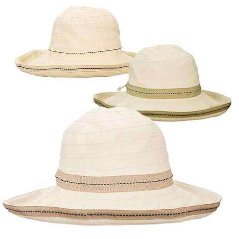 Lightweight Kettle Brim Sewn Ribbon Hat with Toggle by Scala