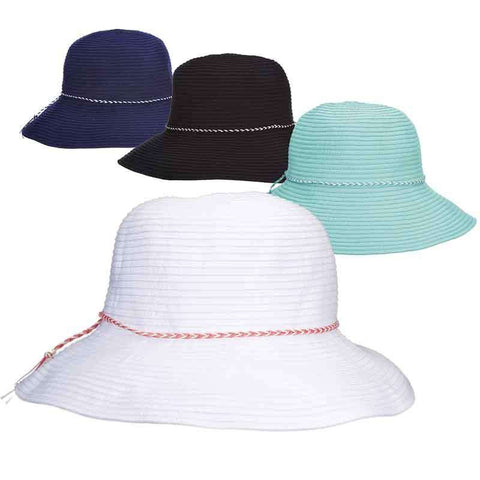 Scala Ribbon Bucket Hat - Shapeable Brim, Packable Hat, UV Protection