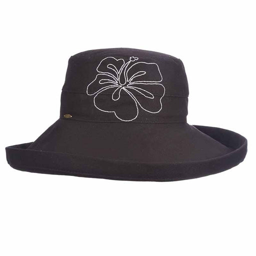 Up Turned Brim Cotton Sun Hat with Hibiscus Embroidery - Scala Hats