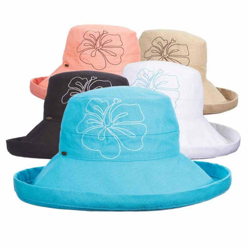 Up Turned Brim Cotton Sun Hat with Hibiscus Embroidery - Scala Collezione